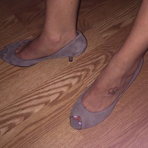 Nine West tan suede heels